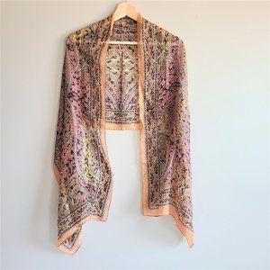 100% pure silk long scarf.